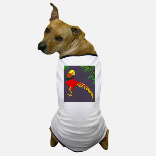 Golden Pheasant-Gray background Dog T-Shirt