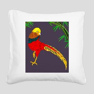Golden Pheasant-Gray backgrou Square Canvas Pillow