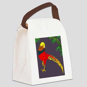 Golden Pheasant-Gray background Canvas Lunch Bag