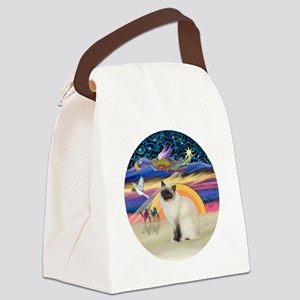 Christmas Angel-Birman cat Canvas Lunch Bag