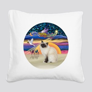 Christmas Angel-Birman cat Square Canvas Pillow