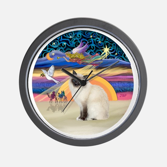 Christmas Angel-Birman cat Wall Clock