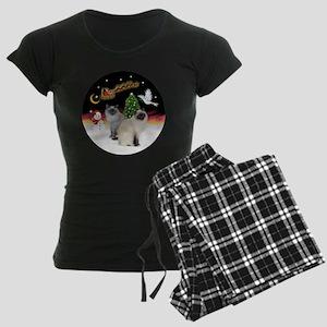 NightFlight-TwoBirmanCats Women's Dark Pajamas