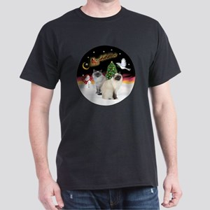 NightFlight-TwoBirmanCats Dark T-Shirt