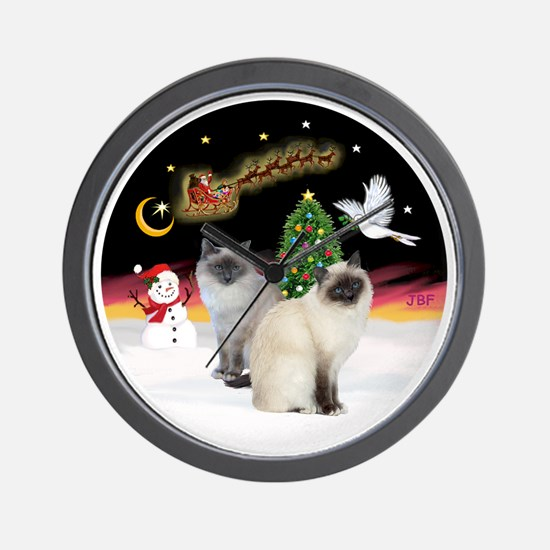 NightFlight-TwoBirmanCats Wall Clock