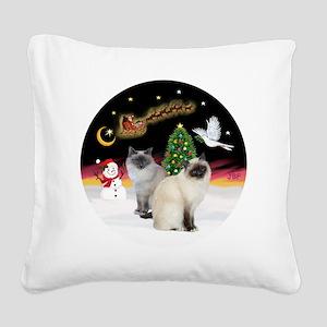 NightFlight-TwoBirmanCats Square Canvas Pillow