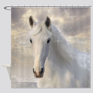 Sparkling White Horse Shower Curtain