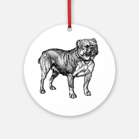 Vintage Bulldog Round Ornament