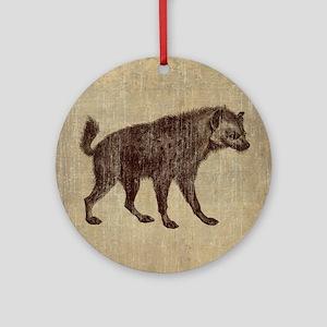 Vintage Hyena Round Ornament