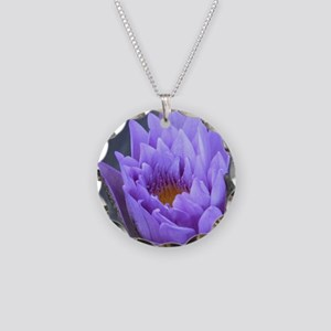 Dreamy Waterlily Necklace Circle Charm