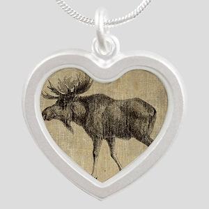 Vintage Moose Silver Heart Necklace