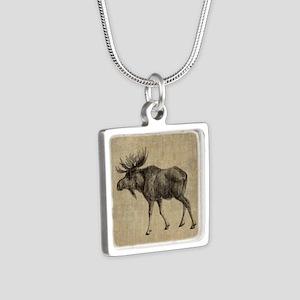 Vintage Moose Silver Square Necklace