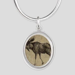 Vintage Moose Silver Oval Necklace