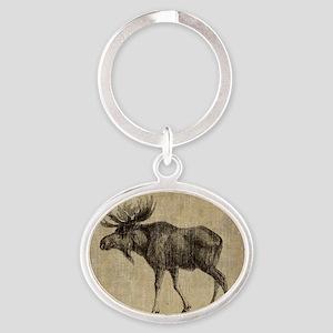 Vintage Moose Oval Keychain