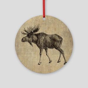 Vintage Moose Round Ornament