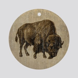 Vintage Bison Round Ornament