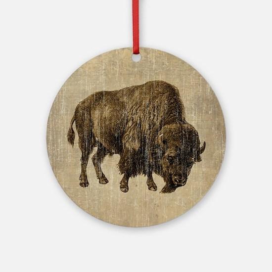 Vintage Bison Round Ornament
