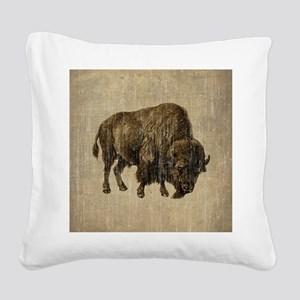 Vintage Bison Square Canvas Pillow