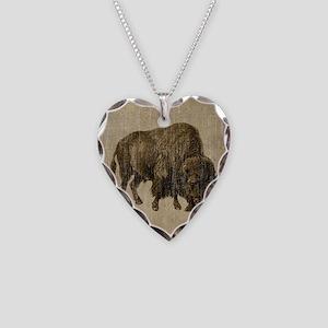 Vintage Bison Necklace Heart Charm