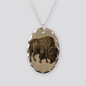 Vintage Bison Necklace Oval Charm