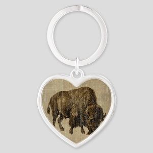Vintage Bison Heart Keychain