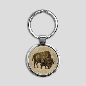 Vintage Bison Round Keychain