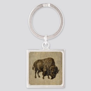 Vintage Bison Square Keychain