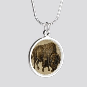 Vintage Bison Silver Round Necklace