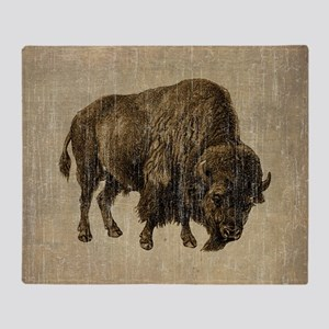 Vintage Bison Throw Blanket