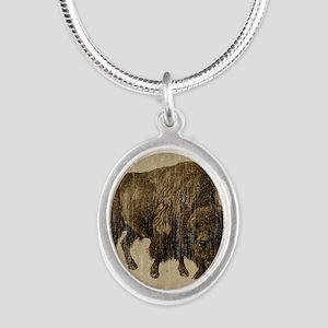 Vintage Bison Silver Oval Necklace