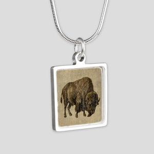 Vintage Bison Silver Square Necklace