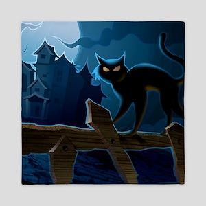 Black Cat, Halloween, Queen Duvet