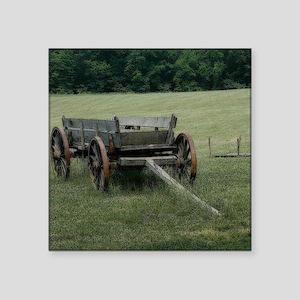 "Old Hay Wagon Square Sticker 3"" x 3"""