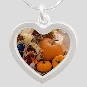 Fall Season Silver Heart Necklace