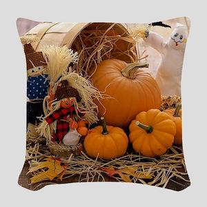 Fall Season Woven Throw Pillow