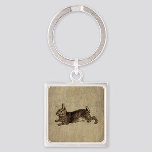 Vintage Rabbit Square Keychain