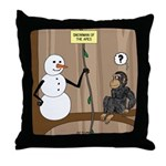 Snowman of the Apes Throw Pillow