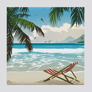 Day at the Beach Tile Coaster