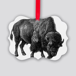 Vintage Bison Picture Ornament