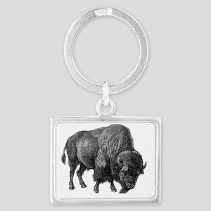 Vintage Bison Landscape Keychain