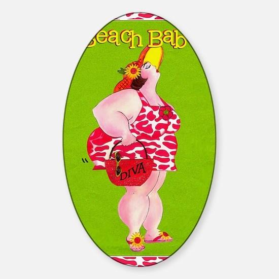 Beach Babe Sticker (Oval)