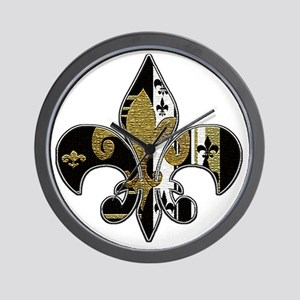 Fleur de lis bling black and gold Wall Clock