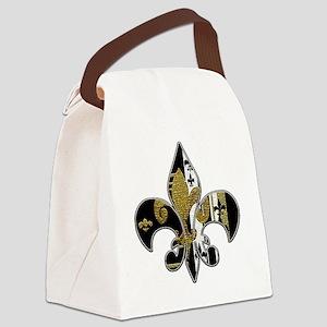 Fleur de lis bling black and gold Canvas Lunch Bag