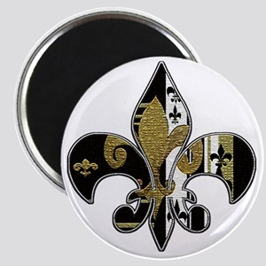 Fleur de lis bling black and gold Magnet