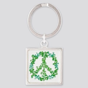 Snowflake Flower Peace Square Keychain