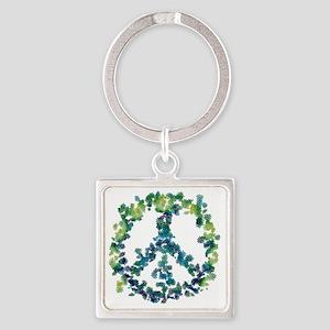 Meditation Flower Peace Square Keychain