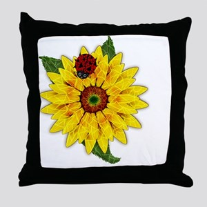 Mosaic Sunflower with Lady Bug Throw Pillow