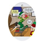 Elf Launch Ornament (Oval)
