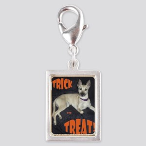 Boo Trick for Treat Silver Portrait Charm