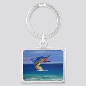 Marlin Deep Sea Fishing Landscape Keychain